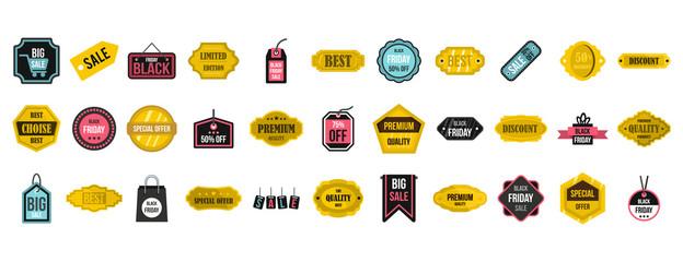 Sale badge icon set, flat style