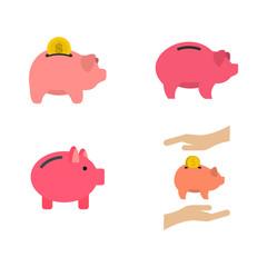 Piggy bank icon set, flat style