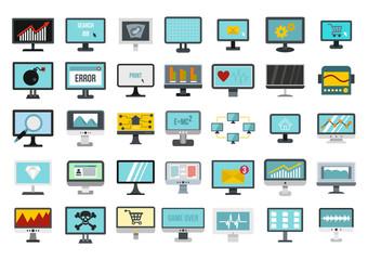 Monitor icon set, flat style
