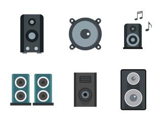 Speaker icon set, flat style