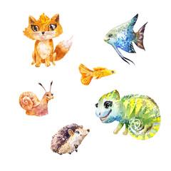 Watercolor set of little cute exotic pets