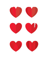 Set of red paper heart