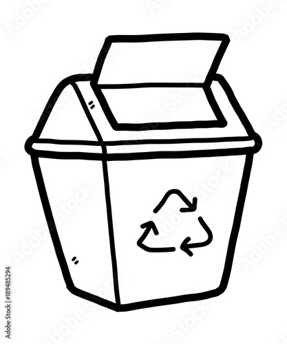 recycle bin cartoon vector and illustration black and white hand