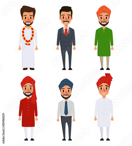 34a86e5340 Indian character couple of different culture standing.