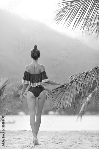 Beautiful Sexy Slim Girl On The Beach Black And White Photo