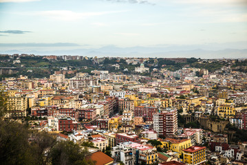 Naples, Italy - November 30 2017: Panoramic view of the italian city by Vesuvius