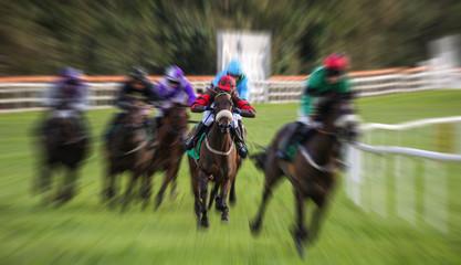 intense motion blur speed on racehorses