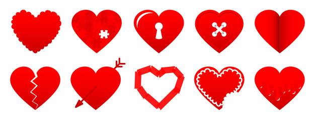 10 Red Hearts Icons Set