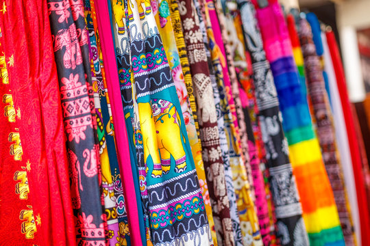 Close up of Colorful traditional fabric texture in Sri Lanka.