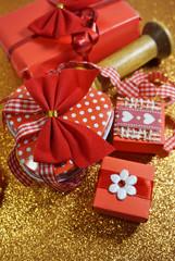 Valentine's Day. Romantic symbol of love.Ribbon in the shape of hearts. Decorative gift box