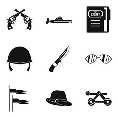 Weaponry icons set, simple style