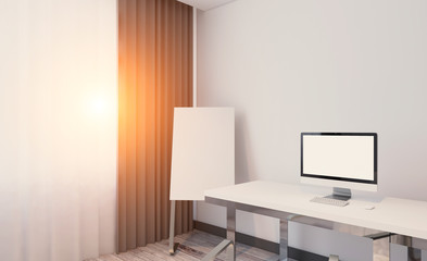 Modern office Cabinet. Meeting room. 3D rendering.. Sunset
