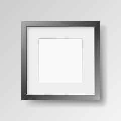 Realistic empty black frame with passepartout on light background, border for your creative project, mock-up sample, vector design object