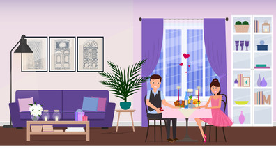A couple in love on a date. Vector illustration.