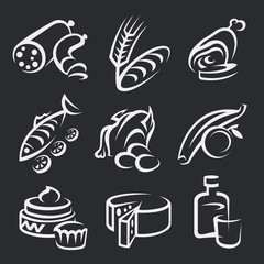 collection of different food icons on black background