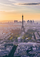 Fotomurales - Skyline of Paris with Eiffel Tower at sunset in Paris, France