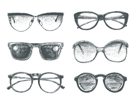 Set of eyeglasses and sunglasses. Fashion vintage elements hand-drawn collection. Engraving style vector lineart  illustration. Retro hipsters style glasses model icons