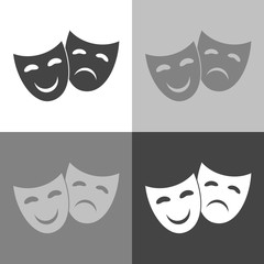 Vector Image Theatrical face mask. Drama and comedy.  Vector on white-grey-black color