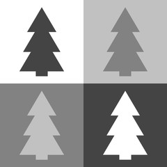Vector image of Christmas tree, fir-tree.Vector icon on white-grey-black color