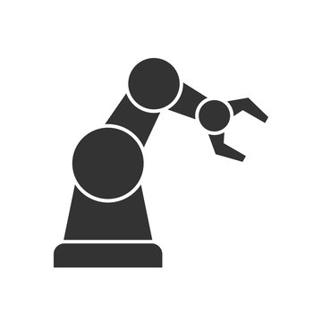 Robotic arm black icon