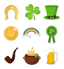 St. Patricks Day icon set design element. Traditional irish symbols in modern flat style. Isolated on white background. Vector illustration, clip art