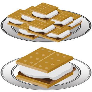 Plate of Graham Cracker Smores
