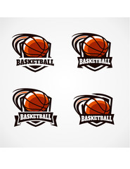 Basketball Badge Vector Set of 4