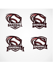 Baseball Badge Vector Set of 4