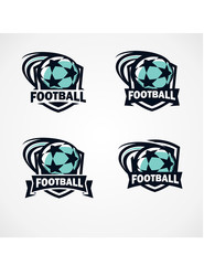 Football Badge Vector Set of 4