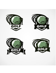 Golf Badge Vector Set of 4