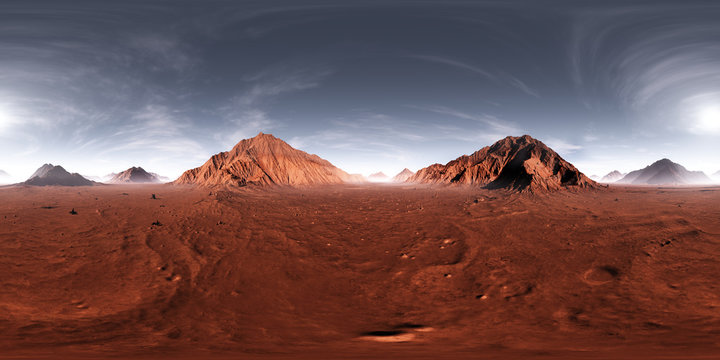 360 HDRI panorama of Mars sunset. Martian landscape, environment map. Equirectangular projection, spherical panorama. 3d illustration