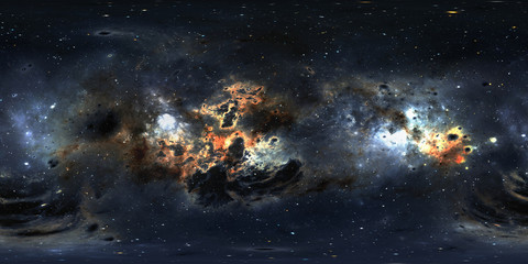 Space background with dust nebula and stars. Panorama, environment 360 HDRI map. Equirectangular projection, spherical panorama