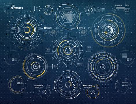Vector Circular Elements Set for HUD Sci Fi Interfaces