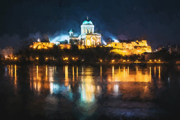 Esztergom basilica in the night, Hungary, illustration