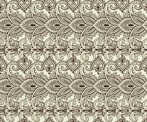 Vector seamless pattern with henna mehndi floral elements.