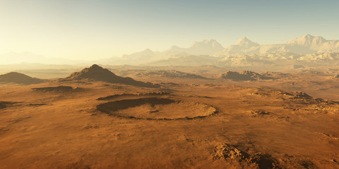 Sunset on Mars, Martian landscape. 3D illustration