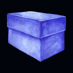 Watercolor image of a cardboard box.