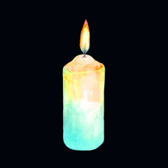 Watercolor illustration of a lighted candle.