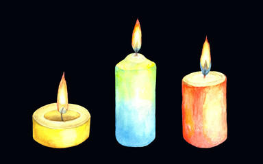 Watercolor collection of illustrations of a lighted candle.