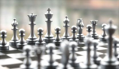 Pieces of chess game, image with shallow depth of field.