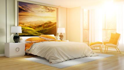 Helles Hotelzimmer oder Schlafzimmer im Sommer