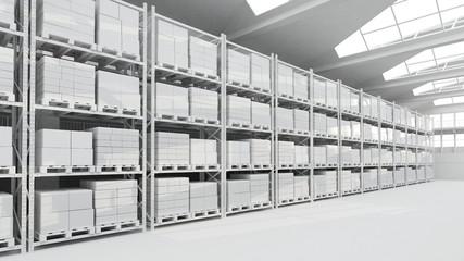 Lagerhalle mit Kartons und Regalen in weiß Wall mural