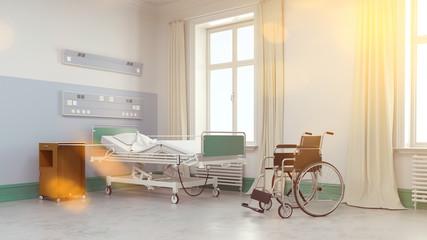 Rollstuhl und Krankenbett im Krankenhaus