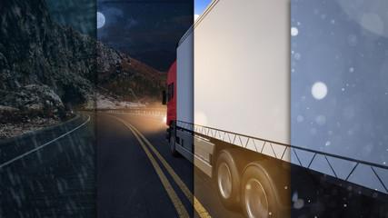 Truck von Spedition fährt Lieferung bei Tag und Nacht