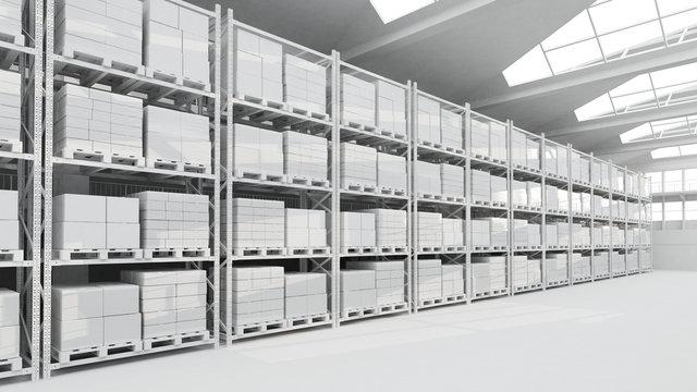 Lagerhalle mit Kartons und Regalen in weiß