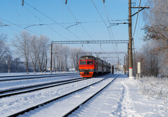 Train rides on the road . Russian Railways