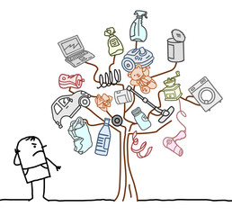Cartoon Man Watching a Garbage Tree