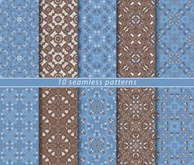 Vector set of ten seamless abstract patterns in arabic style. Decorative and design elements for textile, book covers, print, gift wrap.