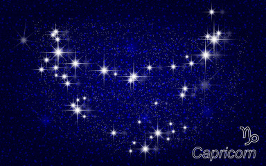 Constellation of Capricorn in a starry blue sky