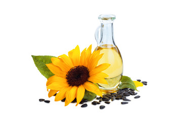 Spoed Fotobehang Kruiderij Sunflowers and sunflower oil.